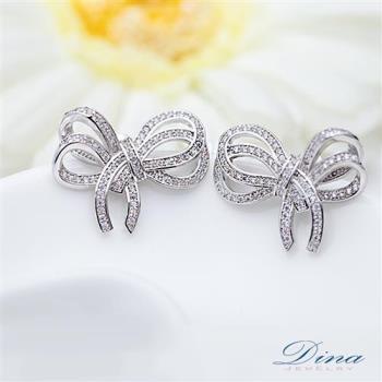 DINA JEWELRY蒂娜珠寶 緞帶風蝴蝶結 CZ鑽石耳環 (TM31205)