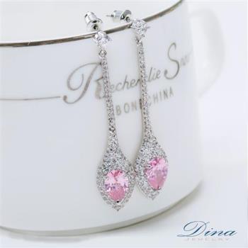 DINA JEWELRY蒂娜珠寶 古典粉紅淑女 CZ鑽石耳環 (TM61453)