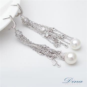 DINA JEWELRY蒂娜珠寶 古典美女珍珠 CZ鑽石耳環 (TM61502)