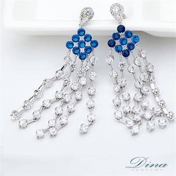 DINA JEWELRY蒂娜珠寶 天藍流蘇美女 CZ鑽石耳環 (TM71936)
