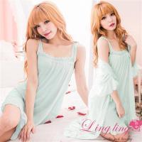 lingling日系 冰絲荷葉擺寬肩帶連身睡衣+蕾絲罩衫睡袍(全尺碼)