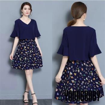 【YOUNGBABY中大碼】氣質V領喇叭袖彩色葉子裙假兩件式洋裝.深藍
