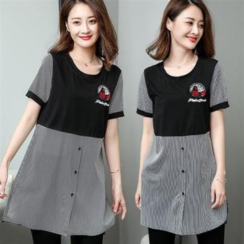 【麗質達人】18317格紋假二件式上衣(XL-5XL)