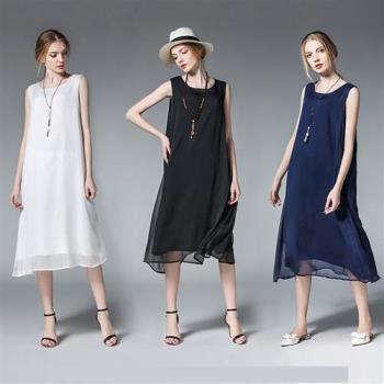 【麗質達人】6372雪紡背心長洋裝(L-3XL)
