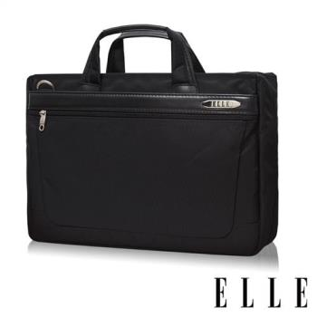 ELLE HOMME 第二代尼龍╳皮革 單拉鍊14吋筆電收納兩用公事包(黑 EL74164B)