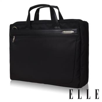 ELLE HOMME 第二代尼龍╳皮革 雙拉鍊可加大15吋筆電收納兩用公事包(黑 EL74166B)