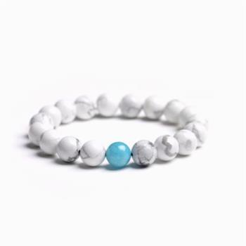 【Hera】純淨幸福滿滿白松石手珠(海藍寶款)