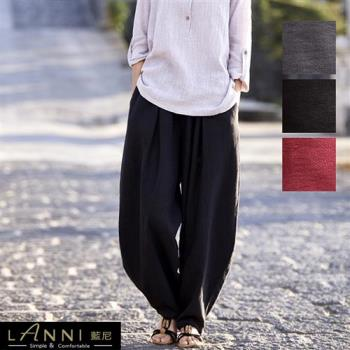 【LANNI 藍尼】透氣棉麻寬鬆好活動燈籠褲(新品熱銷款)