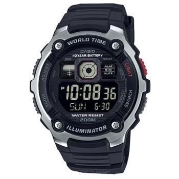 【CASIO】數位迷你世界地圖潛水運動腕錶-黑面銀框(AE-2000W-1B)