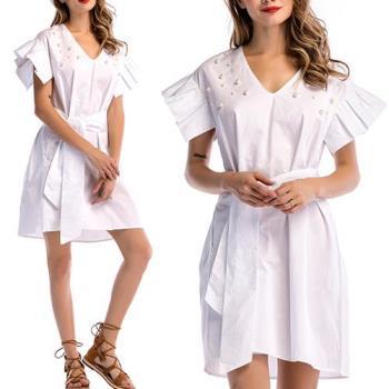 歐風KEITH-WILL  S~L  純色歐美風大方V領洋裝