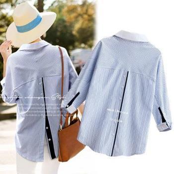 歐風KEITH-WILL  M~XL  純色顯瘦設計款寬鬆條紋襯衫