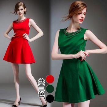 歐風KEITH-WILL  L~XL  經典純色鑲珠無袖針織洋裝