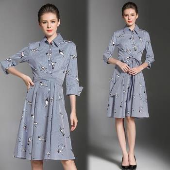 歐風KEITH-WILL  L~2XL  印花條紋襯衫領系帶收腰洋裝
