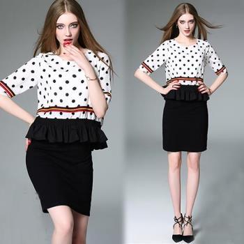 歐風KEITH-WILL M~XL  時尚OL圓點修身假兩件洋裝