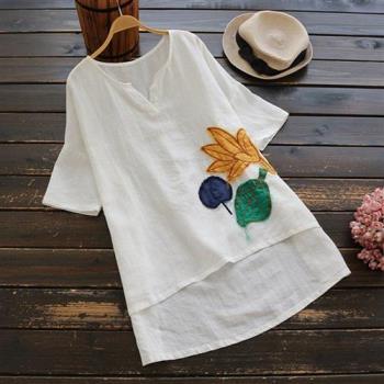 Keer-  日系棉麻趣玩貼布前短後長短袖襯衫-F(共二色)