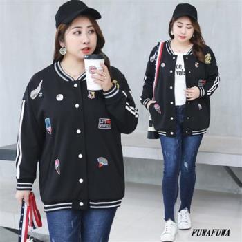 (現貨+預購 RN-girls)- [MA1089]-加大尺碼刺繡徽章玫瑰棒球外套