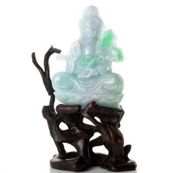 【絕世精品】森茂珠寶 緬甸天然翡翠A貨 觀音雕件 122415
