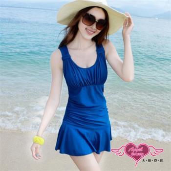 天使霓裳海 泳衣 海洋假期 一件式加大尺碼連身泳裝(藍M~2L) JH15048
