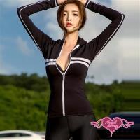 天使霓裳 泳衣 率性極簡 四件式長袖水母衣泳裝(黑M~XL) JH1781