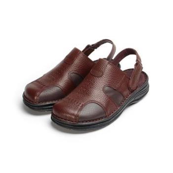 BONJO 縫線粗曠真皮張菲鞋 咖 男鞋 鞋全家福