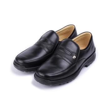 皮爾卡登 真皮套式加州紳士皮鞋 黑 男鞋 鞋全家福