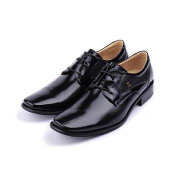 皮爾卡登 真皮綁帶方頭紳士皮鞋 黑 男鞋 鞋全家福