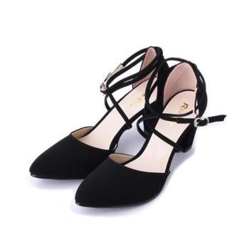 RIN RIN 繫繩繞帶尖頭跟鞋 黑 女鞋 鞋全家福
