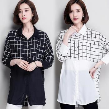 韓國KW  L~2XL  知性大方格紋雪紡長襯衫