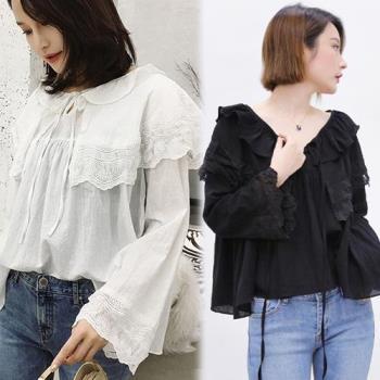 韓國KW  XL~4XL  純色淑女翻領花邊針織棉上衣
