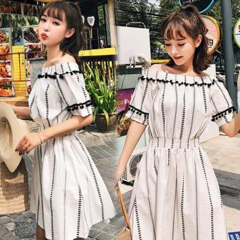 韓國KW  S~L  清秀條紋一字領亞麻洋裝