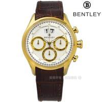 BENTLEY 賓利 / BL1684-10473 / 藍寶石水晶 三眼計時 日期 日本機芯 德國製造 真皮手錶 白x金框x咖啡 42mm