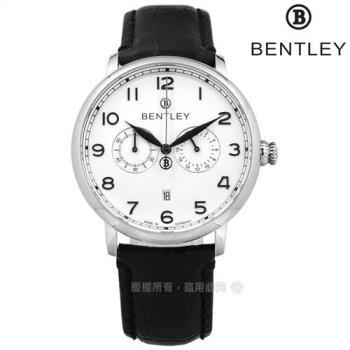 BENTLEY 賓利 / BL1690-20001 / 藍寶石水晶玻璃 數字時標 日期 日本機芯 德國製造 真皮手錶 白x黑 42mm