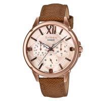 【CASIO】SHEEN羅馬數字優雅棕色系皮帶腕錶-(SHE-3056PGL-7A)