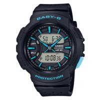 【CASIO 卡西歐】BABY-G 亮眼配色慢跑女孩雙顯錶-黑X藍(BGA-240-1A3)