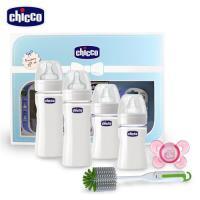 chicco 舒適哺乳彌月禮盒(奶瓶*4+奶嘴+清潔刷)-粉