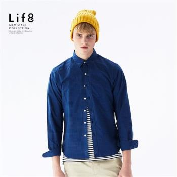 Life8-Casual 百搭細格 長袖襯衫-10008