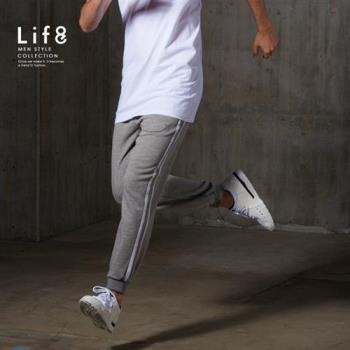 Life8-Sport 透氣細絨 側邊反光LOGO縮口褲-14016-麻花灰色