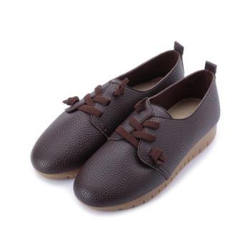母子鱷魚 仿皮復古鬆緊休閒鞋 咖 女鞋 鞋全家福