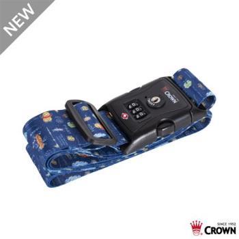 CROWN 皇冠 DISNEY 迪士尼 TSA美國海關密碼鎖 防盜行李箱 束帶-藍色花園維尼小熊