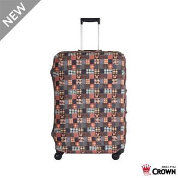 CROWN 皇冠 迪士尼防刮傷防盜行李箱保護套-復古棕米奇(中) 19吋登機箱~24吋可用