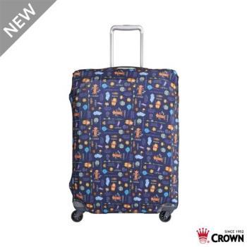 CROWN 皇冠 迪士尼防刮傷防盜行李箱保護套-花園維尼小熊(中) 19吋登機箱~24吋可用