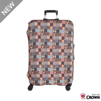 CROWN 皇冠 迪士尼防刮傷防盜行李箱保護套-復古棕米奇(大) 25吋~29吋行李箱可用