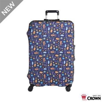 CROWN 皇冠 迪士尼防刮傷防盜行李箱保護套-花園維尼小熊(大) 25吋~29吋行李箱可用