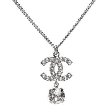 CHANEL 經典雙C LOGO水鑽鑲嵌垂墜水晶墜飾項鍊(銀)
