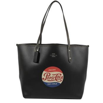 COACH百事可樂系列全皮革托特購物包(黑)