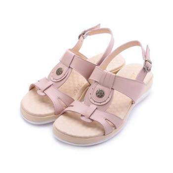 LUZZI 真皮工字飾釦涼鞋 粉 女鞋 鞋全家福