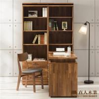 【日本直人木業】BRAC層木二個3抽書櫃加調整書桌