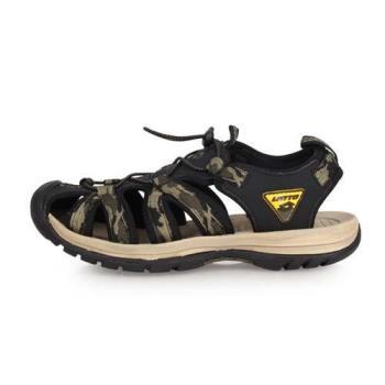 LOTTO 男冒險者護趾運動涼鞋-拖鞋 休閒涼鞋 海邊 海灘 戲水 迷彩軍綠