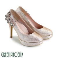 GREEN PHOENIX 閃耀立體花朵壓克力水鑽金蔥亮粉全真皮高跟鞋/婚鞋U13-26A21