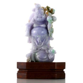 【絕世精品】森茂珠寶 緬甸天然翡翠A貨 老三彩彌勒雕件 122427